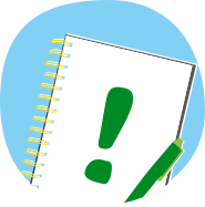 Notebook with an exclamation mark icon