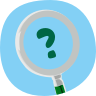 Magnifying glass over a question mark icon
